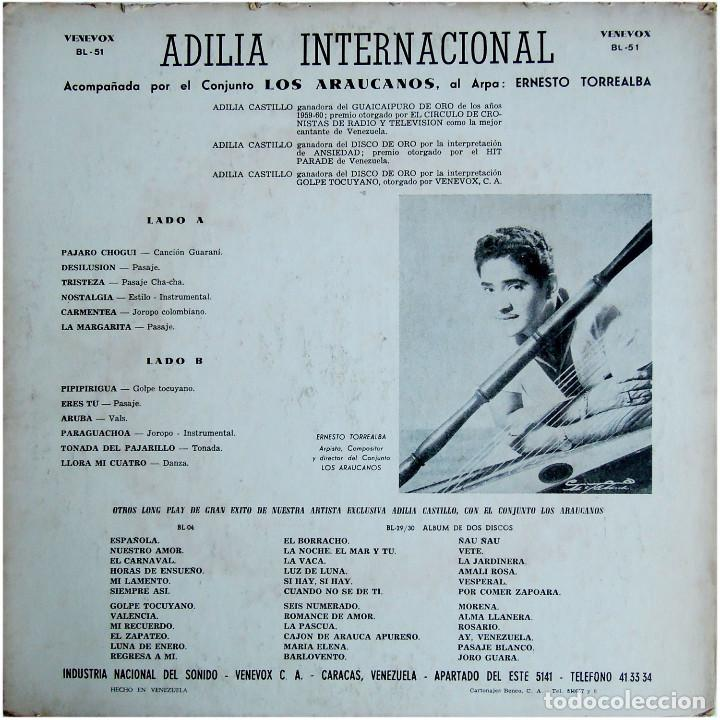 Discos de vinilo: Adilia Internacional acomp. por Los Araucanos, al arpa: Ernesto Torrealba - Lp Venezuela - Vene Vox - Foto 2 - 148034286