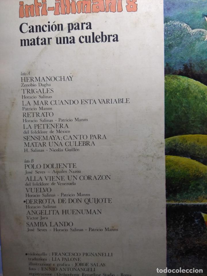 Discos de vinilo: LP INTI-ILLIMANI 8 : CANCION PARA MATAR UNA CULEBRA ( FIRMADO POR LOS COMPONENTES DEL GRUPO ) - Foto 2 - 148088578