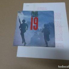 Discos de vinilo: PAUL HARDCASTLE (SN) 19 AÑO 1985 – PROMOCIONAL + HOJAS PROMOCIONALES. Lote 148097826