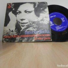 Discos de vinilo: NURIA FELIU~CANCO DE LA RESISTENCIA FRANCESA / EL CLAR PAIS~45 HISPAVOX 1973 . Lote 148101162