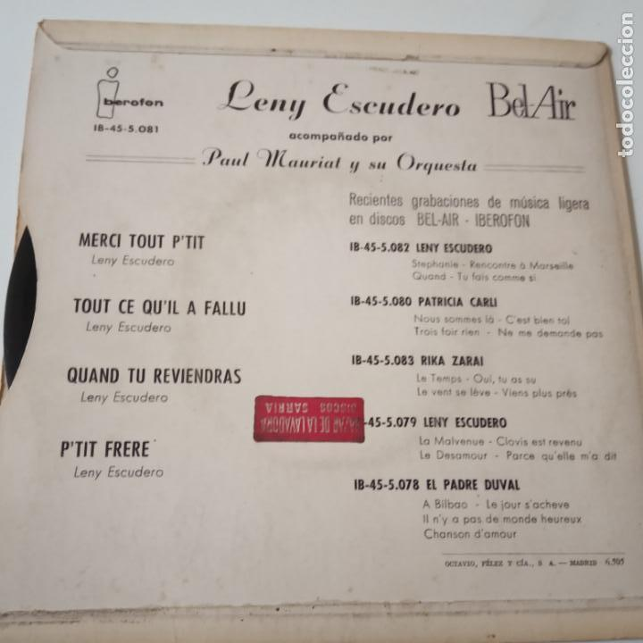 Discos de vinilo: LENY ESCUDERO- MERCI TOUT P´TIT- FRENCH EP 1964. - Foto 2 - 148179990