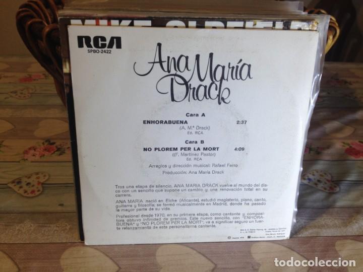 Discos de vinilo: ANA MARIA DRACK - ENHORABUENA / PROMOCIONAL OCASIÓN SINGLE VINILO - Foto 2 - 148189046