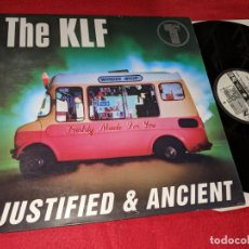 Discos de vinilo: THE KLF JUSTIFIED & ANCIENT LP 1991 BLANCO Y NEGRO EDICION ESPAÑOLA SPAIN. Lote 148277698