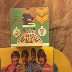 Discos de vinilo: THE BEATLES, ST. PEPPERS, DISCO AMARILLO Y RECORTABLE ORIGINAL. ODEON 1976 EN BUEN ESTADO, VER FOTOS. Lote 148357174