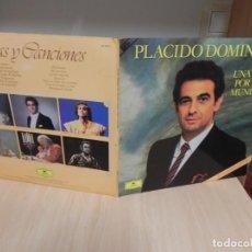Discos de vinilo: PLACIDO DOMINGO - UNA VOZ POR EL MUNDO .. 2 LP´S - CON LETRAS . Lote 148369498