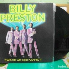 Discos de vinilo: BILLY PRESTON THAT'S THE WAY GOD PLANNED IT LP UK 1991 PEPETO TOP . Lote 148381302