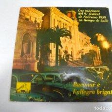 Disques de vinyle: SINGLE. BARIMAR E E L'ALLEGRA BRIGATA. Nº 2. CANCIONES DEL 9º FESTIVAL DE SANREMO 1959. Lote 148396482