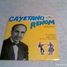 Discos de vinilo: DISCO DE CAYETANO RENOM INCLUYE LOS TEMAS ,ES LA MORENETA , LA MES BONICA, TERRA AIMADA ,. Lote 148457954