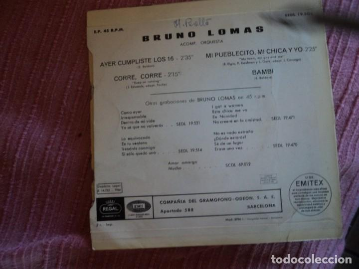 Discos de vinilo: BRUNO LOMAS: SOLO PORTADA- REGAL 1966-POCO DETALLE -MUY NUEVA-OPORTUNIDAD - Foto 2 - 148549002