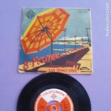 Discos de vinilo: EP.8º FESTIVAL DE LA CANCION SAN REMO 1958 (DOMENICO MODUGNO, LICIA MOROSINI, GIACOMO RONDINELLA). Lote 148565146