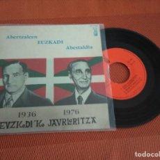 Discos de vinilo: ABERTZALEEN EUSKADI ABESTALDIA / 1936 -1976 EUZKADI'KO JAURLARITZA //EP 45 RPM// EDITADO EZ. Lote 148650566