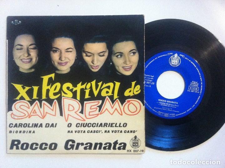 ROCCO GRANATA - CAROLINA DAI - EP 1961 - HISPAVOX - XI FESTIVAL DE SAN REMO (Música - Discos de Vinilo - EPs - Otros Festivales de la Canción)