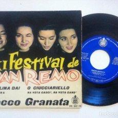 Discos de vinilo: ROCCO GRANATA - CAROLINA DAI - EP 1961 - HISPAVOX - XI FESTIVAL DE SAN REMO. Lote 148655298