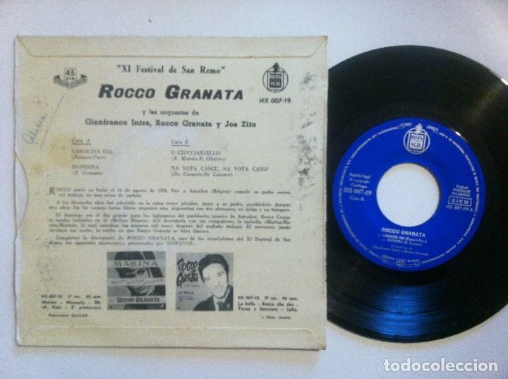 Discos de vinilo: ROCCO GRANATA - carolina dai - EP 1961 - HISPAVOX - XI FESTIVAL DE SAN REMO - Foto 2 - 148655298