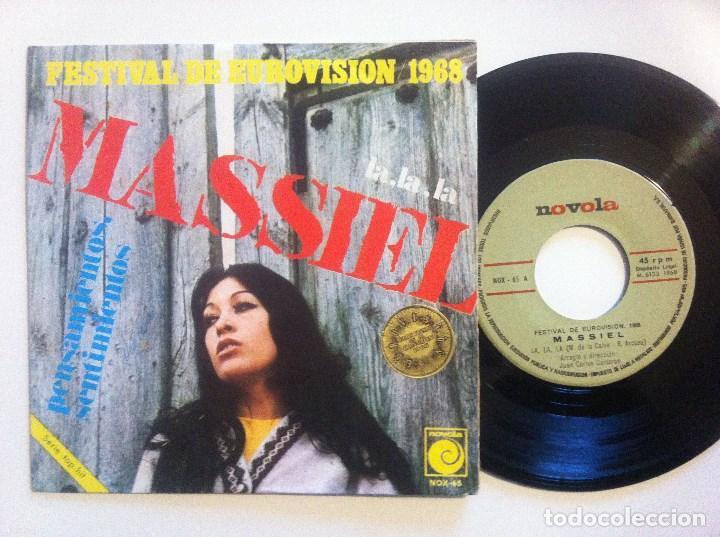 MASSIEL - LA LA LA / PENSAMIENTOS - SINGLE 1968 - NOVOLA - CON PEGATINA DE EUROVISION (Música - Discos - Singles Vinilo - Festival de Eurovisión)