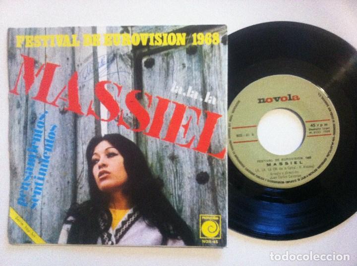 Discos de vinilo: MASSIEL - la la la / pensamientos - SINGLE 1968 - NOVOLA - CON PEGATINA DE EUROVISION - Foto 2 - 148660542
