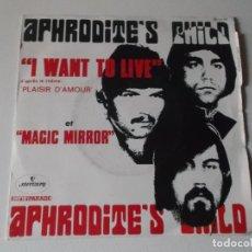 Discos de vinilo: APHRODITE,S CHILD, I WANT TO LIVE, MAGIC MIRROR MERCURI FRANCE. Lote 148825238