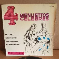 Discos de vinilo: 4 MENUETTOS CELEBRES / EP - BELTER - 1964 / MBC. ***/***. Lote 148895298