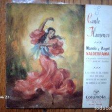 Discos de vinilo: MANOLO Y ANGEL VALDERRAMA - A LA HORA DE LA VERDAD + SOLO POR VERLA + REMEDIO DE MIS AMORES + 1. Lote 148923222