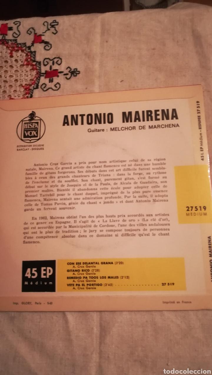 Discos de vinilo: Antiguo vinilo de Antonio Mairena, editado en Francia - Foto 2 - 148990264