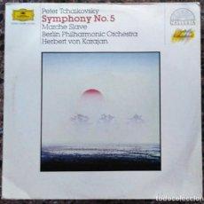 Discos de vinilo: TCHAIKOVSKY / KARAJAN - SYMPHONIE NR. 5 / SLAWISCHER MARSCH - LP DEUTSCHE GRAMMOPHON - 419 066-1. Lote 149201922