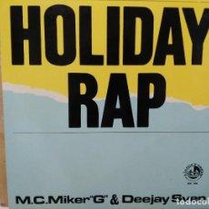 Discos de vinilo: M. C. MIKER G & DEEJAY SVEN - HOLIDAY RAP - MAXI SINGLE DEL SELLO BLANCO Y NEGRO MUSIC 1986. Lote 149314302
