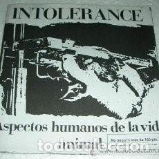 Discos de vinilo: INTOLERANCE.- ASPECTOS HUMANOS DE LA VIDA ANIMAL.- EP . Lote 149614790