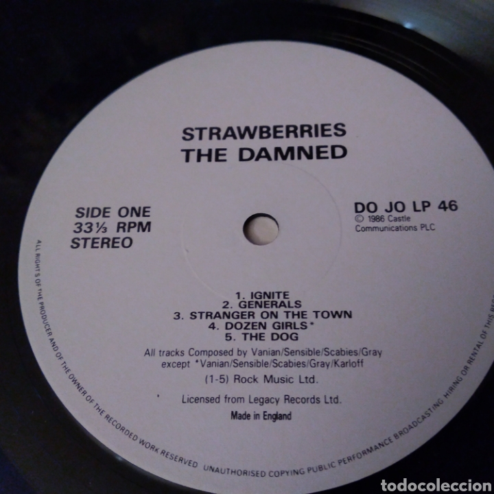 Discos de vinilo: THE DAMNED. STRAWBERRIES LP AÑO 1986 - Foto 5 - 149639357