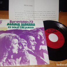 Discos de vinilo: BENDIK SINGERS IT´S JUST A GAME EUROVISION NORUEGA 1973 SINGLE VINILO HOJA PROMO ESPAÑA MUY RARO. Lote 149724874