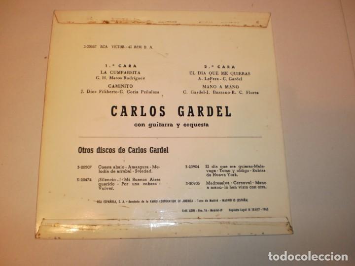 Discos de vinilo: single carlos gardel. la cumparsita. caminito.el día que me quieras. mano a mano rca 1963 spain - Foto 2 - 149726510