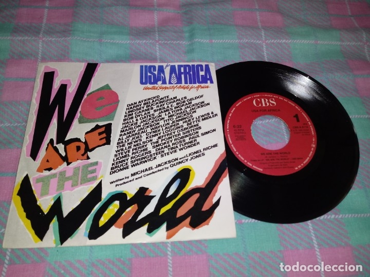 USA FOR AFRICA WE ARE THE WORLD MICHAEL JACKSON QUINCY JONES SINGLE VINILO PORTUGUES AÑO 1985 RARO (Música - Discos de Vinilo - Singles - Pop - Rock Extranjero de los 80)