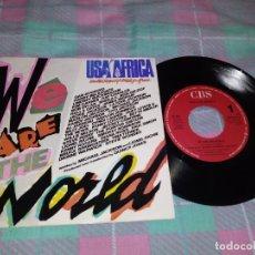 Discos de vinilo: USA FOR AFRICA WE ARE THE WORLD MICHAEL JACKSON QUINCY JONES SINGLE VINILO PORTUGUES AÑO 1985 RARO. Lote 149799393
