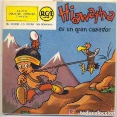 Discos de vinilo: HIAWATHA ES UN GRAN CAZADOR, DE WALT DISNEY, CUENTO EN CASTELLANO - DISCO ROJO 1958. Lote 149829922