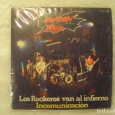 Discos de vinilo: BARON ROJO, LOS ROCKEROS VAN AL INFIERNO, INCOMUNICACION. SINGLE EDICION ESPAÑOLA 1981 CHAPA-DISCO. Lote 149866386