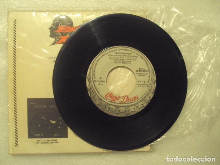 Discos de vinilo: BARON ROJO, LOS ROCKEROS VAN AL INFIERNO, INCOMUNICACION. SINGLE EDICION ESPAÑOLA 1981 CHAPA-DISCO - Foto 5 - 149866386