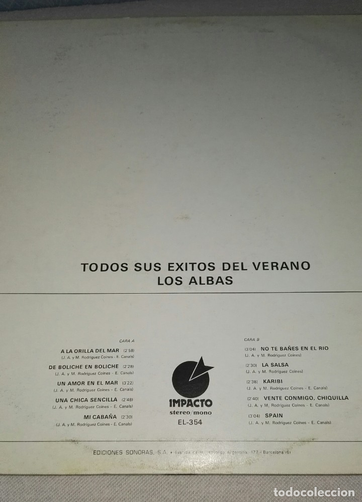 Discos de vinilo: lp LOS ALBAS TODOS SUS EXITOS DEL VERANO - Foto 2 - 149913902