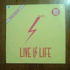 Discos de vinilo: STARGO - LIVE IS LIFE, WEA, 1985. FRANCE.. Lote 150040468