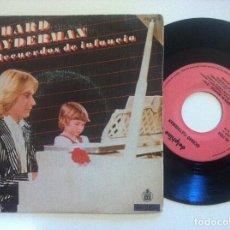 Discos de vinilo: RICHARD CLAYDERMAN - RECUERDOS DE INFANCIA - SINGLE 1980 - DELPHINE. Lote 150138938