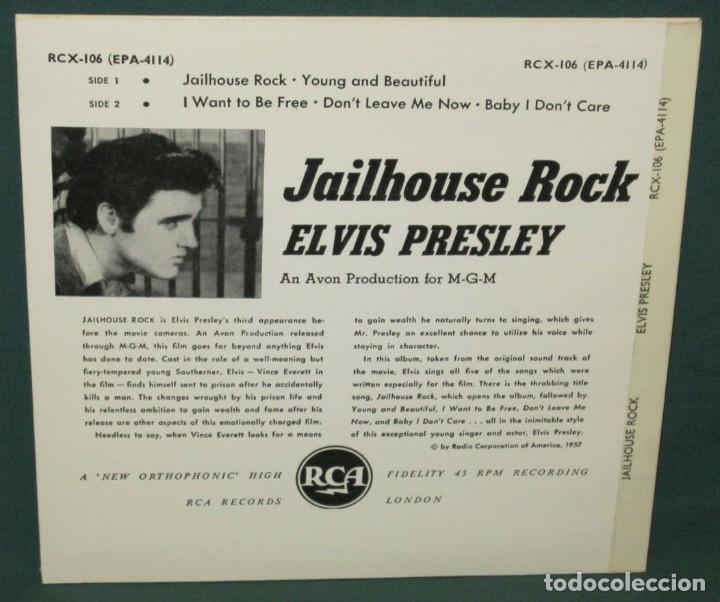 Discos de vinilo: ELVIS PRESLEY - Jailhouse Rock 1957 RARo ep 5 temas EDT RCA uk 1967 , todo exc - Foto 2 - 150161378