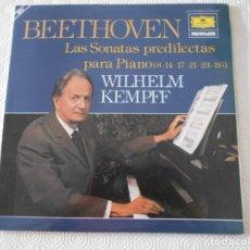 Discos de vinilo: BEETHOVEN. LAS SONATAS PREDILECTAS PARA PIANO (8, 14, 17, 21, 23, 26). WILHELM KEMPFF. DOBLE LP VINI. Lote 150223726