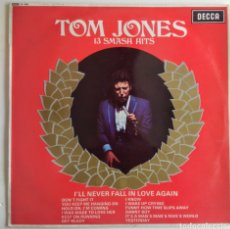 Discos de vinilo: LP. TOM JONES. 13 SMASH HITS. 1968.. Lote 150236096