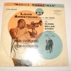 Discos de vinilo: SINGLE LOUIS ARMSTRONG. BASIN STREET BLUES. OJOS NEGROS. COLUMBIA 1954 SPAIN (PROBADO Y BIEN). Lote 150308894