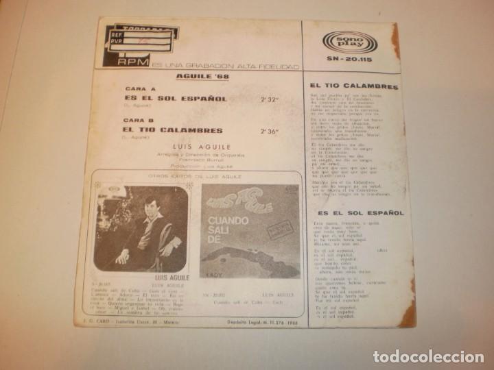 Discos de vinilo: single luis aguilé. es el sol español. el tío calambres. sono play 1968 spain (probado y bien) - Foto 2 - 150309382