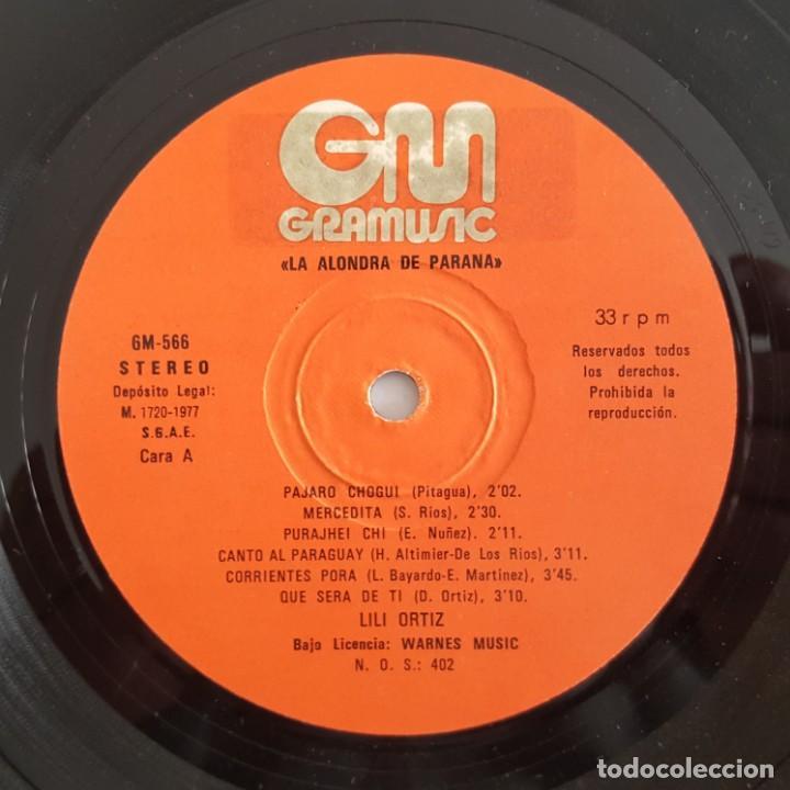 Discos de vinilo: LP / LILI ORTIZ / LA ALONDRA DE PARANA / GRAMUSIC GM-566 / 1977 - Foto 3 - 150309602