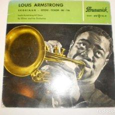 Discos de vinilo: SINGLE LOUIS ARMSTRONG. SKOKIAAN. OTCHI.TCHOR-NI-YA. BRUNSWICK SPAIN (PROBADO Y BIEN). Lote 150310130