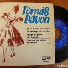 Discos de vinilo: TOMAS PAVON -EP 1966 -EN EL BARRIO DE TRIANA. Lote 182060142