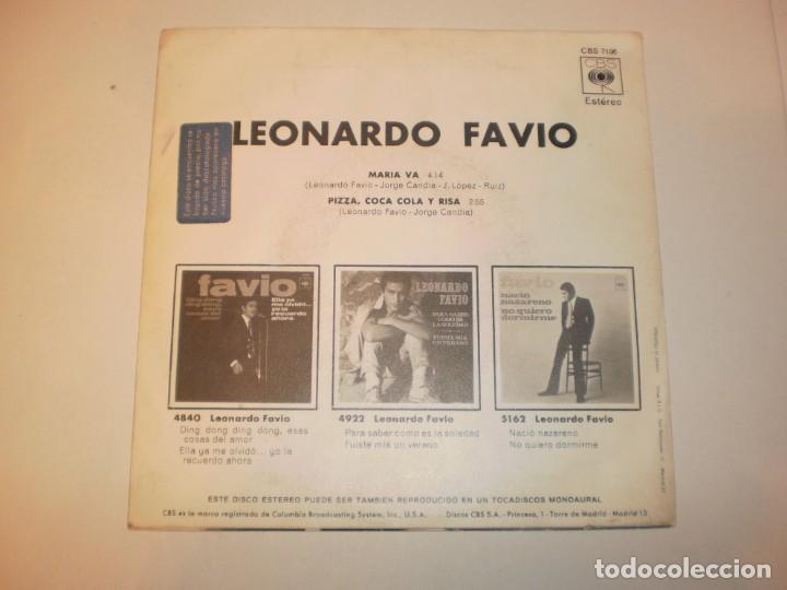 Discos de vinilo: single leonardo favio. maría va. pizza, coca-cola y risa. cbs 1971 spain (probado y bien, seminuevo) - Foto 2 - 150341354
