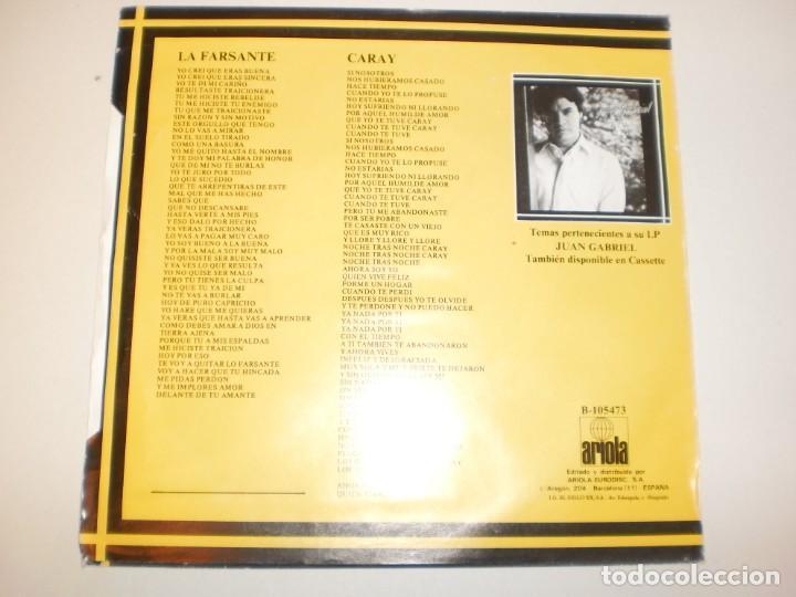 Discos de vinilo: single juan gabriel. la farsante. caray.ariola 1983 spain (probado y bien, seminuevo) - Foto 2 - 150341658