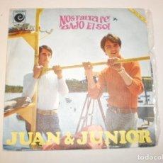 Discos de vinilo: SINGLE JUAN & JUNIOR. NOS FALTA FE. BAJO EL SOL. NOVOLA 1967 SPAIN (PROBADO Y BIEN, SEMINUEVO). Lote 150489674