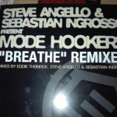 Discos de vinilo: STEVE ANGELLO & SEBASTIAN INGROSSO PRESENT MODE HOOKERS BREATHE REMIXES. Lote 150633742